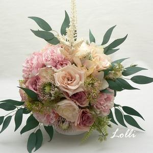 Púder rózsaszín rózsás menyasszonyi örökcsokor, Esküvő, Esküvői csokor, Menyasszonyi örökcsokor,  Egyedi púder rózsaszín selyemrózsákkal kötve. A csokor magassága a száráva..., Meska