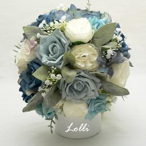 Szürkéskék-ekrü rózsás menyasszonyi örökcsokor, Esküvő, Esküvői csokor, Menyasszonyi örökcsokor, minőségi egyedi különleges szürkéskék és ekrü rózsákból kötve. A csokor mag..., Meska
