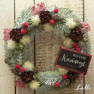 """Ezüst tél koszorú, Karácsony & Mikulás, Karácsonyi kopogtató, Minőségi selyemzöldekből készítettem ezt a kis koszorút, amit törpefenyő tobozokkal és  piros kis """"c..., Meska"""