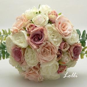 Ekrü-púderrózsaszín rózsás menyasszonyi örökcsokor (Lolli) - Meska.hu