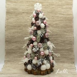 Rózsaszín-fehér mini karácsonyfa, Karácsony & Mikulás, Karácsonyi dekoráció, Apró tobozokkal, fehér hógolyókkal, rózsaszín csillogó glitteres almákkal, és rózsaszín gyöngyökkel ..., Meska