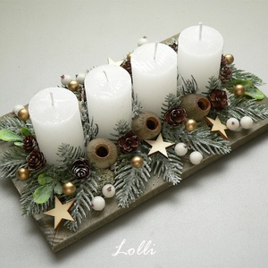Fenyős adventi tál, Karácsony & Mikulás, Adventi koszorú, Mű ezüstfenyőkkel, termésekkel, és fehér és arany bogyókkal díszített adventi tál. A kompozíció mére..., Meska