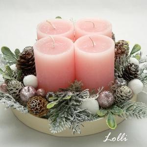 Rózsaszín gyertyás adventi tál, Karácsony & Mikulás, Adventi koszorú, Rózsaszín gyertyákkal készült adventi tál Nagyon szépen csillog itt-ott! A kompozíció mérete: 17cm á..., Meska