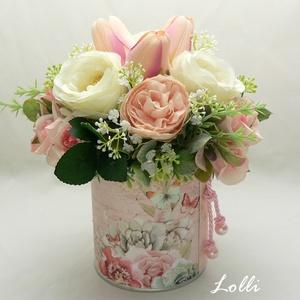 Tulipános virágdoboz virágbox virággomba, Esküvő, Emlék & Ajándék, Szülőköszöntő ajándék, Prémium minőségű virágokkal készült virágdoboz Magassága 21cm, a doboz átmérője 10cm, a kompozíció á..., Meska