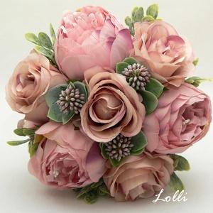 Púder bazsarózsás menyasszonyicsokor örökcsokor, Esküvő, Menyasszonyi- és dobócsokor, Menyasszonyi- és dobócsokor, Prémium minőségű selyemvirágokból készült menyasszonyi örökcsokor púder rózsaszín bazsarózsákból és ..., Meska