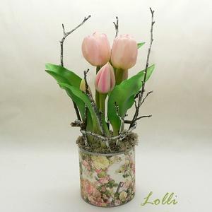 Cserepes élethű tulipán, Otthon & Lakás, Dekoráció, Asztaldísz, Teljesen élethű /gumi/ tulipán virágok /két virág, és 3 bimbós/ egyedi kaspóban, ágakkal díszítve. A..., Meska