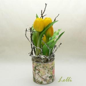 Cserepes élethű tulipán sárga, Otthon & Lakás, Dekoráció, Asztaldísz, Teljesen élethű /gumi/ tulipán virágok /két virág, és 3 bimbós/ egyedi kaspóban, ágakkal díszítve. A..., Meska