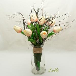 Élethű barackszín tulipáncsokor - Meska.hu