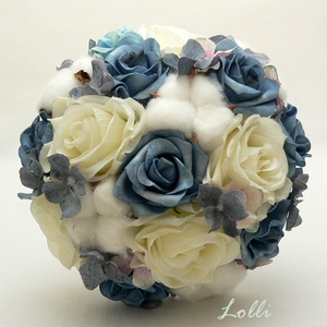 Szürkéskék-ekrü rózsás menyasszonyi örökcsokor, Esküvő, Menyasszonyi- és dobócsokor, Menyasszonyi- és dobócsokor, Menyasszonyi örökcsokor, minőségi egyedi különleges szürkéskék és ekrü rózsákból és gyapotvirágokból..., Meska