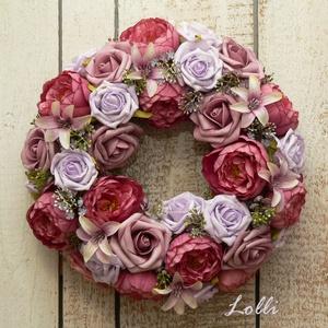 Mályva boglárkás rózsás koszorú, Otthon & Lakás, Dekoráció, Ajtódísz & Kopogtató, Virágkötés, Prémium selyemvirágokkal - boglárkákkal és habrózsákkal díszített vesszőkoszorú\n25cm átmérőjű impozá..., Meska