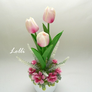 Cserepes mű tulipán pinkes, Otthon & Lakás, Dekoráció, Asztaldísz, Virágkötés, Teljesen élethű  tulipán virágok egyedi kaspóban, virágokkal díszítve\nA magassága a tulipánok tetejé..., Meska