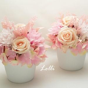 RosyPeach virágdíszek párban, Esküvő, Emlék & Ajándék, Szülőköszöntő ajándék, Egy könnyű műanyag kaspóba tettem prémium minőségű halvány barackszín habrózsákat és rózsaszín dáliá..., Meska