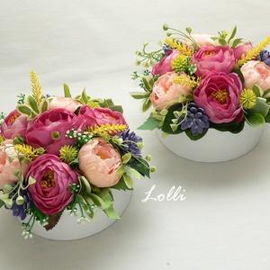 Tarka virágdoboz párban, Esküvő, Emlék & Ajándék, Szülőköszöntő ajándék, Papír virágdobozba prémium minőségű változatos színű selyemvirágokat és műzöldeket tettem A termék m..., Meska