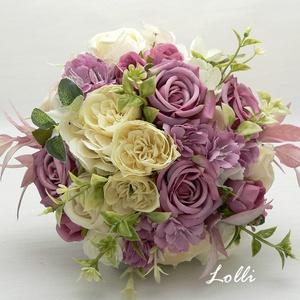 Mályva rózsás örökcsokor, menyasszonyi csokor és fejkoszorú Verának!, Esküvő, Menyasszonyi- és dobócsokor, Menyasszonyi- és dobócsokor, Virágkötés, Menyasszonyi örökcsokor, prémium minőségű mályva selyemrózsákkal.\nA csokor átmérője 19cm\nA szár szín..., Meska