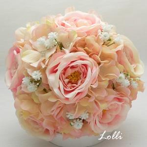 Rózsaszín rózsás örökcsokor, menyasszonyi csokor, Esküvő, Menyasszonyi- és dobócsokor, Menyasszonyi- és dobócsokor, Menyasszonyi örökcsokor, prémium minőségű rózsaszín selyemrózsákkal, és barack hortenziákkal. A csok..., Meska