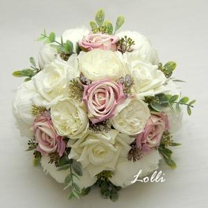 MauveTenderness örökcsokor, Esküvő, Menyasszonyi- és dobócsokor, Menyasszonyi- és dobócsokor, Virágkötés, Menyasszonyi örökcsokor, prémium minőségű egyedi mályvás rózsaszín és ekrü\nselyemrózsákból, valamint..., Meska