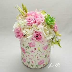 Pink- ekrü virágdoboz, Otthon & Lakás, Dekoráció, Asztaldísz, Prémium selyemvirágokkal díszített doboz,  a kompozíció átmérője 14cm, maassága 18cm A kiegészítők m..., Meska