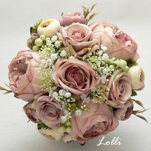 Pasztellrózsás menyasszonyi örökcsokor, Esküvő, Menyasszonyi- és dobócsokor, Menyasszonyi- és dobócsokor, Menyasszonyi örökcsokor, prémium minőségű porosmályva bazsarózsákkal, és selyemrózsákkal A csokor át..., Meska