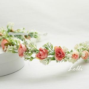 Barack rózsás fejkoszorú, Esküvő, Hajdísz, Fejkoszorú, Virágkötés,  Kis apró barack virágokból,  és fehér rezgőből kötöttt fejkoszorú\nHossza 53cm\nA virágok a fejet tel..., Meska