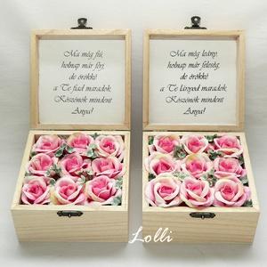 Szülőköszöntő virágdobozok párban, Esküvő, Emlék & Ajándék, Szülőköszöntő ajándék, 12x12x7,5cm magas - méretű szülőköszöntő ládikók,  tetejükön selyemvirág virágdísszel, felirattal be..., Meska