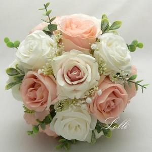 SecretTemptation - Peach örökcsokor, menyasszonyi csokor, Esküvő, Menyasszonyi- és dobócsokor, Különleges dús örökcsokraim fantázia neve a SecretTemptation - 13 virág van a csokorba, alul 6db nag..., Meska