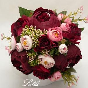 Bordó - rózsaszín örökcsokor, menyasszonyi csokor, Esküvő, Menyasszonyi- és dobócsokor, Virágkötés, Meska