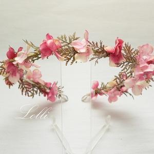 Mályva hortenziás selyemvirág fejkoszorú, Esküvő, Hajdísz, Fejkoszorú, Virágkötés, Meska