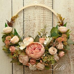 Barack rózsás selyemvirág koszorú, Otthon & Lakás, Dekoráció, Ajtódísz & Kopogtató, Virágkötés, Meska