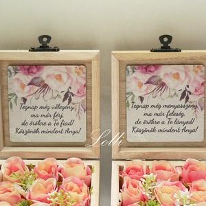 Szülőköszöntő mini selyemvirágdobozok párban - korall rózsákkal - esküvő - emlék & ajándék - szülőköszöntő ajándék - Meska.hu