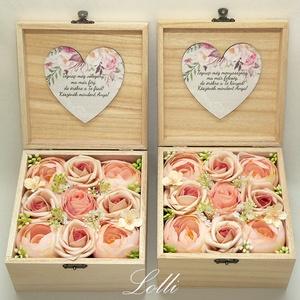 Barack boglárkás selyemvirág szülőköszöntő virágdobozok párban - esküvő - emlék & ajándék - szülőköszöntő ajándék - Meska.hu