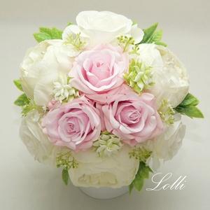 Ekrü - rózsaszín örökcsokor, menyasszonyi csokor, Esküvő, Menyasszonyi- és dobócsokor, Virágkötés, Meska