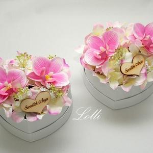 Pink orchideás - szív szülőköszöntő selyemvirág dobozok párban, Esküvő, Emlék & Ajándék, Szülőköszöntő ajándék, Virágkötés, Meska