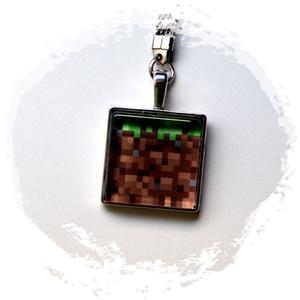 kulcstartó-minecraft, Otthon & Lakás, Ékszerkészítés, Mindenmás, Kulcstartó 2,3 mm átmérőjű  ezüstszínű kör alakú kulcskarikával, szintén ezüstszínű sima szélű kb. 2..., Meska