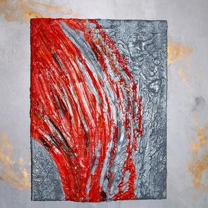Vörös és szürke 3D-kép, Festmény vegyes technika, Festmény, Művészet, Festészet, Mindenmás,  \n Modern lakáshoz kiváló választás!!  \n\n\nFeszített vászonra és vegyes technikával készült ez a kép,..., Meska