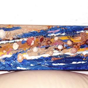 3d-s kép Tengerparti séta, Kép & Falikép, Dekoráció, Otthon & Lakás, Festészet, Mindenmás, \nFeszített vászonra és vegyes technikával készült ez a kép, mely így három dimenzióssá teszi a festm..., Meska