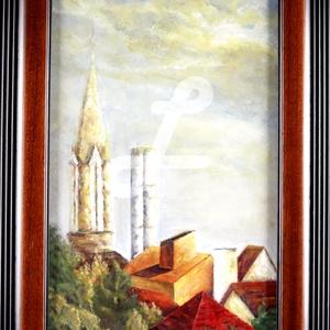 Olaj festmény kerettel- Budapest külvárosa nyári naplemente, Olajfestmény, Festmény, Művészet, Festészet, Saját készítésű olajfestményem, másolat nem készült belőle, egyedi darab.\n\nNappali ablakom látványa...., Meska
