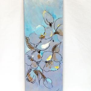 Virágos kép-táblakép, dísz, Otthon & lakás, Dekoráció, Kép, Lakberendezés, Festészet, Minden egyes darab kézzel festett akril festékkel. \n  A fatábla mérete 27.5 cm*10 cm *1,5 cm\n Képaka..., Meska