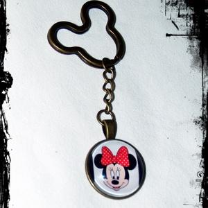 Mickey _-Minnie egér üveglencsés kulcstartó, Kulcstartó, Kulcstartó & Táskadísz, Táska & Tok, Ékszerkészítés,  \nMinnie antikolt bronz színű üveglencsés kulcstartó\n\nÜveglencse mérte: 25 mm\nMedál mérete: 27 mm\nLá..., Meska