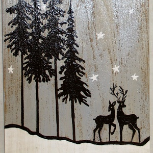 Téli tájkép szarvassal- Karácsonyi dekoráció, Karácsony, Karácsonyi lakásdekoráció, Festészet, Meska