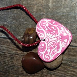 rusztikus kerámia szív- nyaklánc Akció! 2 db áráért 3 db. Az ajándékot te választod!, Ékszer, Nyaklánc, Medálos nyaklánc, Kerámia, Meska