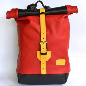 """Lontra \""""NENO\"""" Piros-fekete, Táska & Tok, Hátizsák, Roll top hátizsák, Bőrművesség, Varrás, A """"rolltop"""" dizájn a jelenkor hátizsákjainak egyik legkedveltebb képviselője. Stílusos formája, legö..., Meska"""