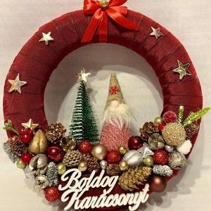 Karácsonyi kopogtató, Karácsony, Karácsonyi lakásdekoráció, Karácsonyi ajtódíszek, Újrahasznosított alapanyagból készült termékek, Mindenmás, Meska