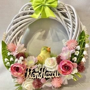 Tavaszi kopogtató, ajtódísz, Otthon & Lakás, Dekoráció, Ajtódísz & Kopogtató, Mindenmás, Gyönyörű, selyem virágokkal és egyéb kiegészítőkel díszített tavaszi kopogtató.\nAz alapja festett ve..., Meska