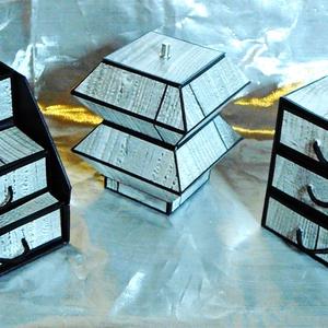 MINTHAFA - Faerezetes ékszerdoboz / írószertartó szett /szürke/, Ékszerdoboz, Ékszertartó, Ékszer, Papírművészet, Faerezetes mintájú doboz szett mahagóni színben.\n\nKartonpapírból készült, TARTÓS, igényesen kialakít..., Meska