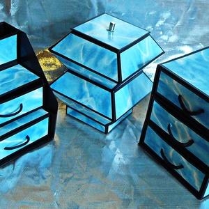 TENGERKÉK ékszerdoboz / írószertartó szett /fekete alapon/, Ékszer, Ékszerdoboz, Ékszertartó, TENGERKÉK doboz-szett /fekete alapon/  Kartonpapírból készült, TARTÓS, igényesen kialakított, különb..., Meska