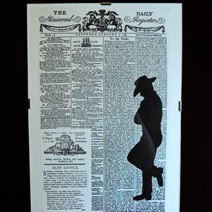 WESTERN / FALI KÉP (A/4-es méretű), Grafika & Illusztráció, Művészet, Festett tárgyak, The Daily Universal napilapra fekete alkoholos filccel rajzolt stilizált kalapos férfi-alak, \nfekete..., Meska