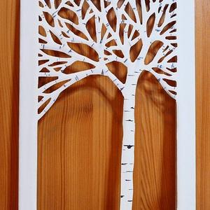 NYÍRFA - vászonkép / FALI KÉP, Lakberendezés, Otthon & lakás, Képzőművészet, Vegyes technika, Falikép, Festett tárgyak, Feszített vászon az alap, ebből úgy vágtam ki ezt az ágas-bogas fát, hogy a vászon keret széle tarts..., Meska