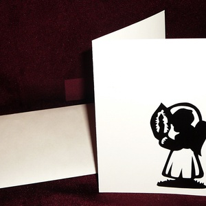KARÁCSONYI ÜDVÖZLŐLAP / ÜDVÖZLŐKÁRTYA, ajándékkísérő, képeslap (gyertyás), Ajándékkísérő, Papír írószer, Otthon & Lakás, Papírművészet, Fehér kartonpapír alapra fekete öntapadós tapétából készített minta (borítékkal)\nA karácsonyi ajándé..., Meska
