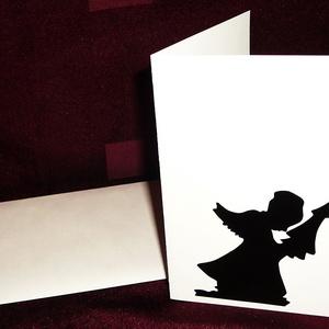 KARÁCSONYI ÜDVÖZLŐLAP / ÜDVÖZLŐKÁRTYA, ajándékkísérő, képeslap (fenyőfás), Ajándékkísérő, Papír írószer, Otthon & Lakás, Papírművészet, Fehér kartonpapír alapra fekete öntapadós tapétából készített minta (borítékkal)\nA karácsonyi ajándé..., Meska