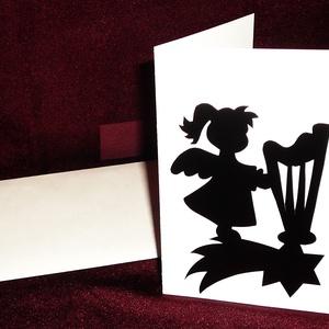 KARÁCSONYI ÜDVÖZLŐLAP / ÜDVÖZLŐKÁRTYA, ajándékkísérő, képeslap (hárfás), Otthon & Lakás, Papír írószer, Ajándékkísérő, Papírművészet, Fehér kartonpapír alapra fekete öntapadós tapétából készített minta (borítékkal)\nA karácsonyi ajándé..., Meska